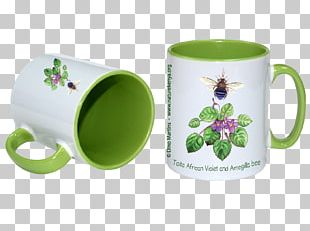 Coffee Cup Mug Green Ceramic Handle PNG