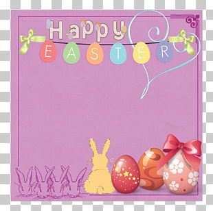 Easter Greeting Card Frame Flower Rabbit PNG