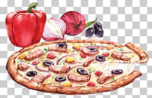 Pizza Italian Cuisine Drawing Watercolor Painting PNG