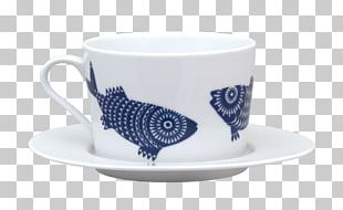 Coffee Cup Ceramic Saucer Blue And White Pottery Mug PNG