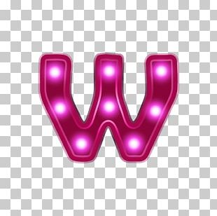 Letter W Light Alphabet Red PNG