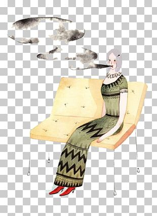 Smoking Woman Illustration PNG