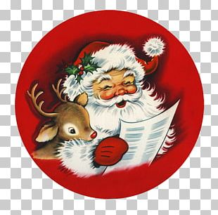 Santa Claus Christmas Ornament Reindeer Wish List PNG