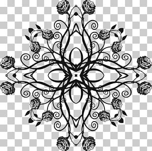 Flower Black And White Floral Design PNG