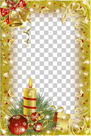 Christmas Frame Gold Candle PNG