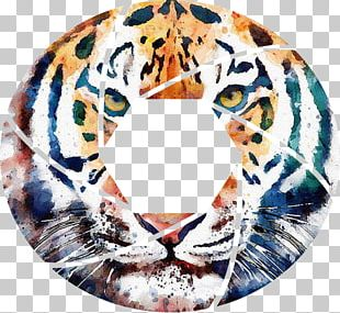Tiger Watercolor Painting Art PNG