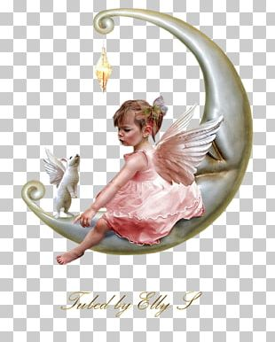 Infant Angel Child Fairy Moon PNG