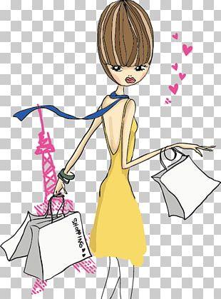 Fashion Shopping Girl Illustration PNG