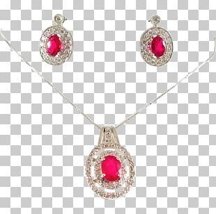Ruby Earring Necklace Locket Jewellery PNG