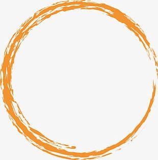 Orange Ink Circle PNG