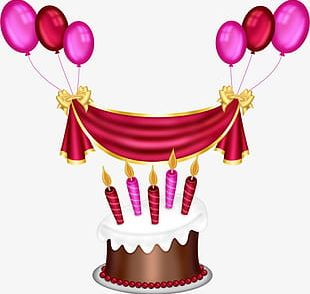 Birthday Party Balloons Cake PNG