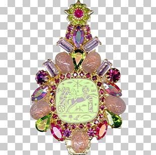Christmas Ornament Brooch Pink M PNG