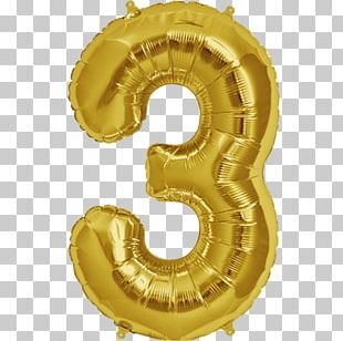 Balloon Party Gold Birthday Foil PNG