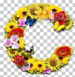 Floral Design Cut Flowers Letter PNG