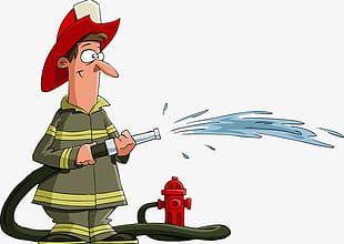 Cartoon Fireman Water PNG