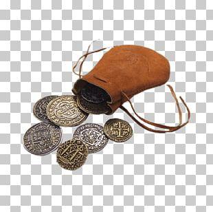 Spanish Dollar Coin Purse Bag Gold PNG