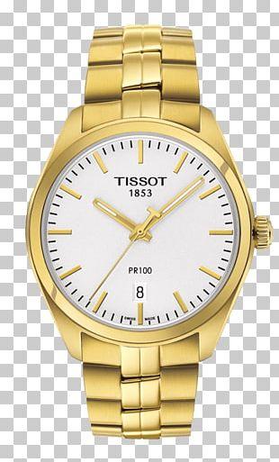 Tissot PR 100 Chronograph Watch Gold Bracelet PNG