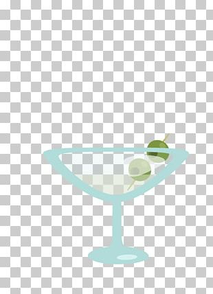 Martini Glass Stemware Cup Green PNG