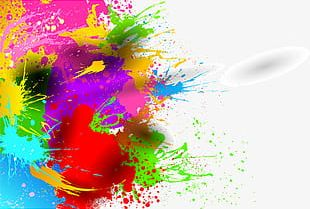 Abstract Colorful Watercolor Painting PNG