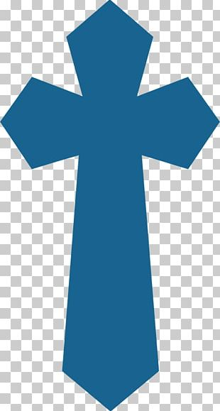 First Communion Cross Eucharist Baptism Blue PNG