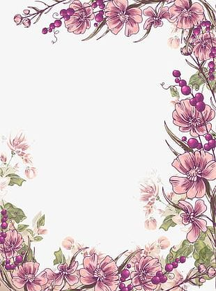 Ink Purple Flowers Border Background PNG