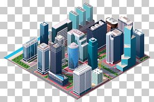 Isometric Projection Building Illustration PNG