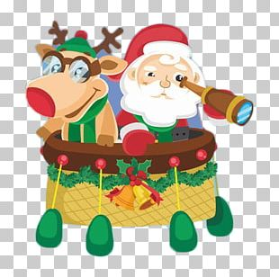 Santa Claus Flight Hot Air Balloon PNG