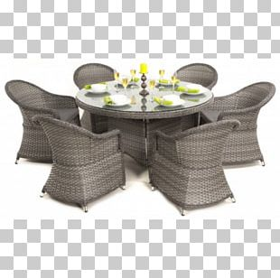 Table Chair Wicker Rattan Garden Furniture PNG