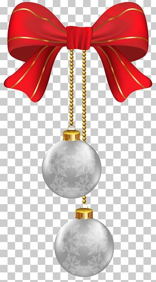 Hanging Christmas Silver Ornaments PNG