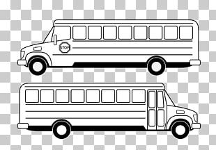 School Bus Black And White PNG