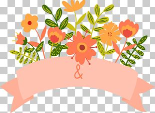 Cartoon Floral Wedding Invitation Banner PNG