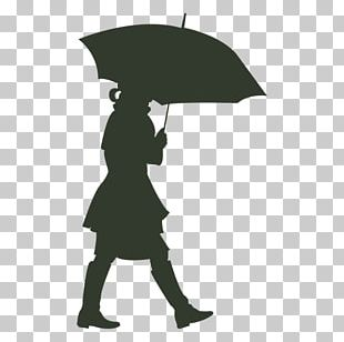 Silhouette Drawing Umbrella Woman PNG