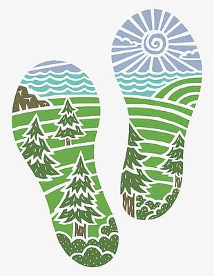 Green Footprints PNG