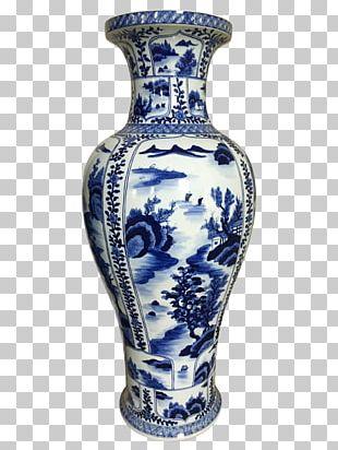 Vase Blue And White Pottery Ceramic Cobalt Blue Porcelain PNG