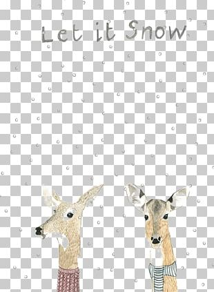 Reindeer Christmas Card Illustration PNG