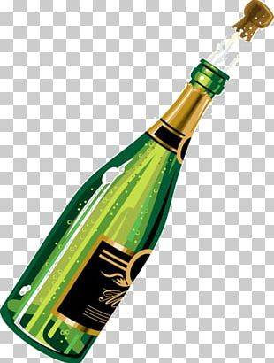 Champagne Wine Bottle Birthday Cake PNG