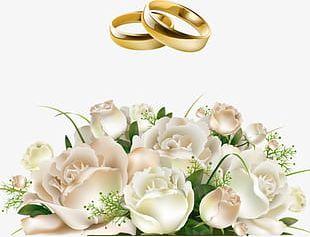 Bride Holding Roses Flower Ring PNG