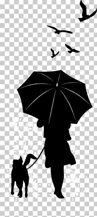 Dog Silhouette Umbrella Illustration PNG