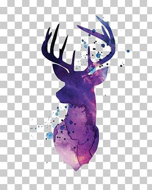Reindeer White-tailed Deer Silhouette Watercolor Painting PNG