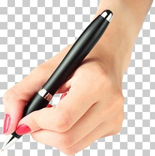Hand Holding Pen Woman PNG