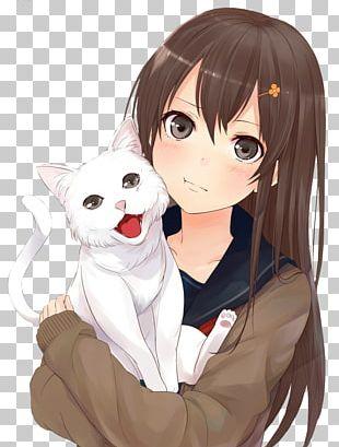 Brown Hair Anime Black Hair Catgirl PNG