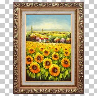 Oil Painting Common Sunflower Landscape Painting PNG