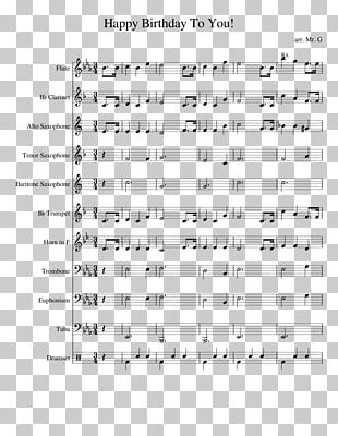Sheet Music Happy Birthday To You Trombone Song PNG