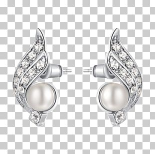 Pearl Earring Jewellery Costume Jewelry Silver PNG