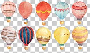 Watercolor Painting Hot Air Balloon PNG