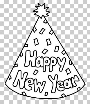 New Year's Day New Year's Eve Party Hat Coloring Book PNG