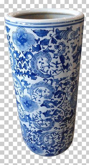 Vase Blue And White Pottery Ceramic Cobalt Blue Glass PNG