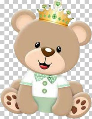 Teddy Bear Prince Baby Shower Crown PNG