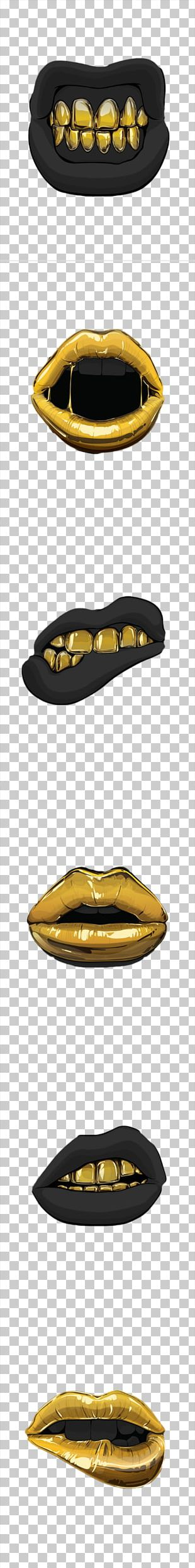 Lip Mouth Gold PNG