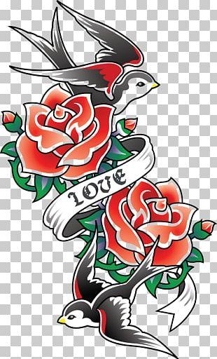 Old School (tattoo) Rose Swallow Tattoo Sleeve Tattoo PNG